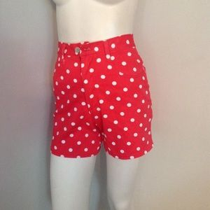 Vintage Red Polka Dot High Waist Jean Shorts 3